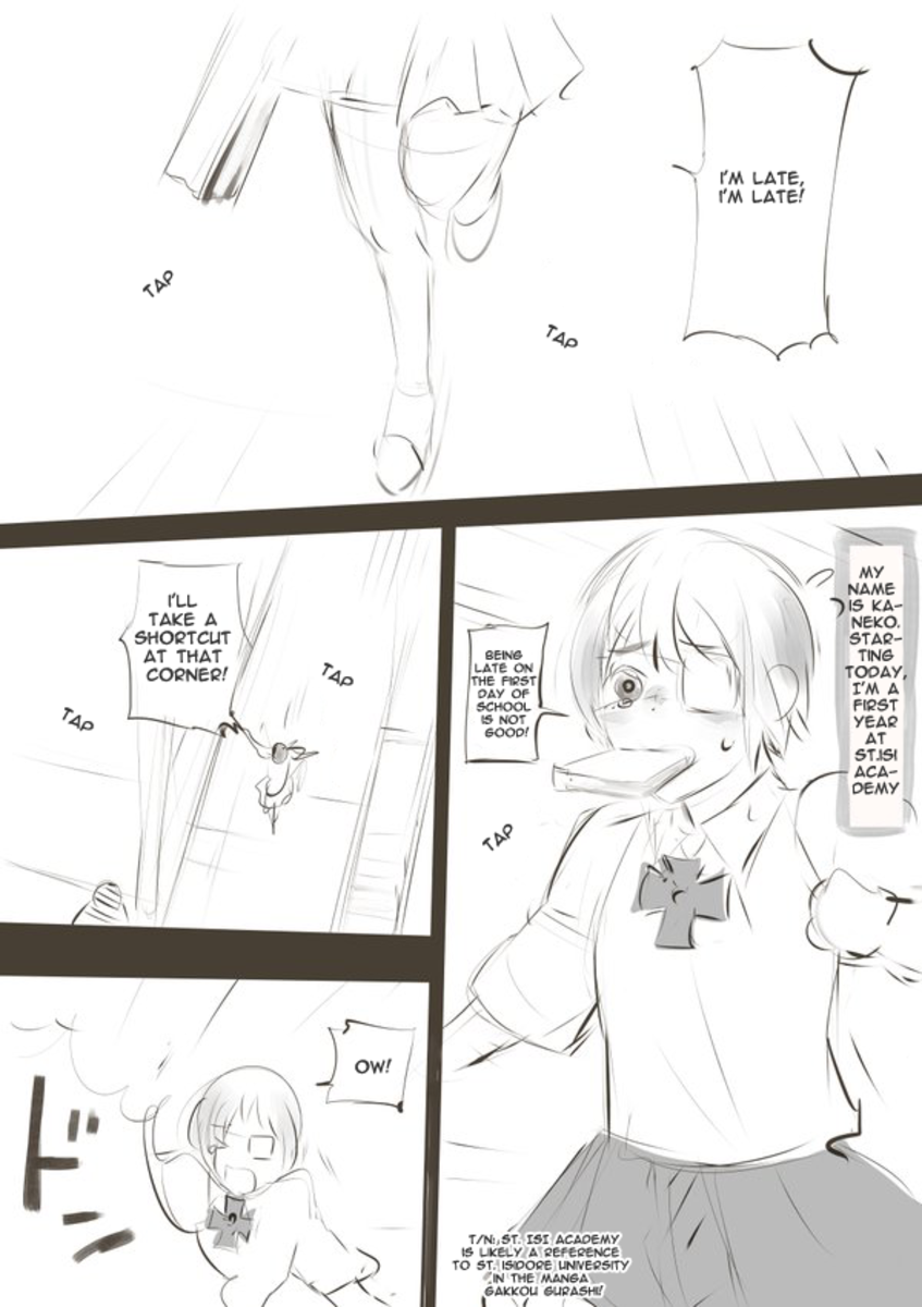 Ishida's joke manga about Kaneko and Sachiko [Page 1].