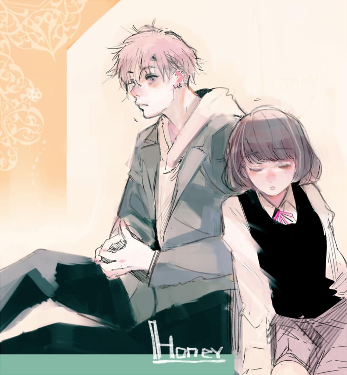 Ishida's drawing for the manga Honey by Meguro Amu.
