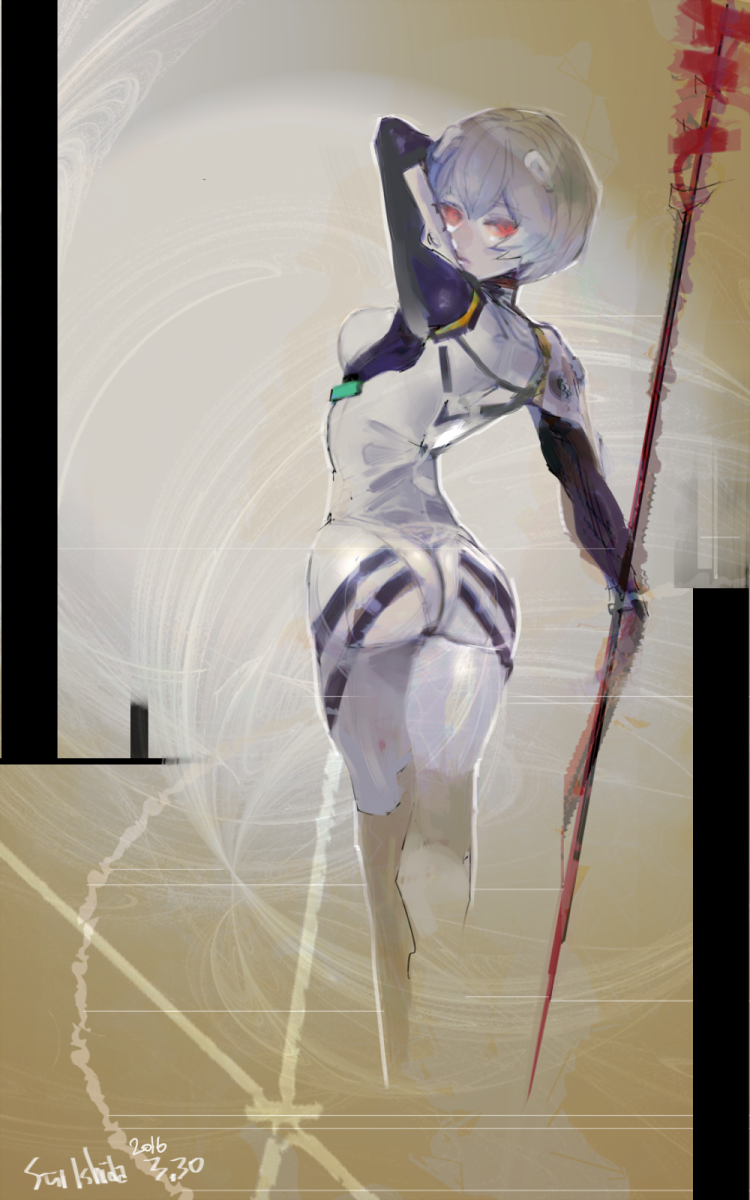 Ishida's illustration of Ayanami Rei from Neon Genesis Evangelion.