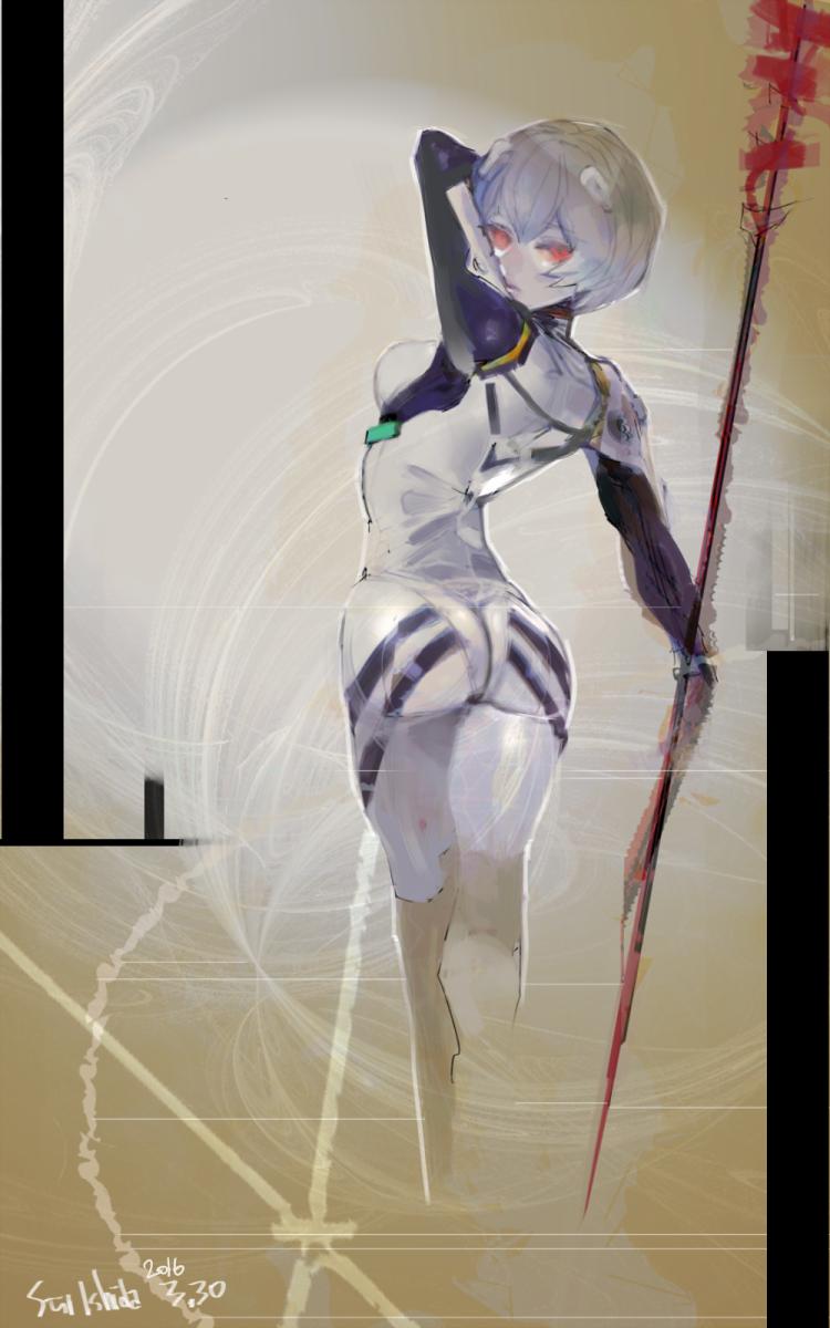 Ishida's illustration of Ayanami Rei from Neon Genesis Evangelion.
