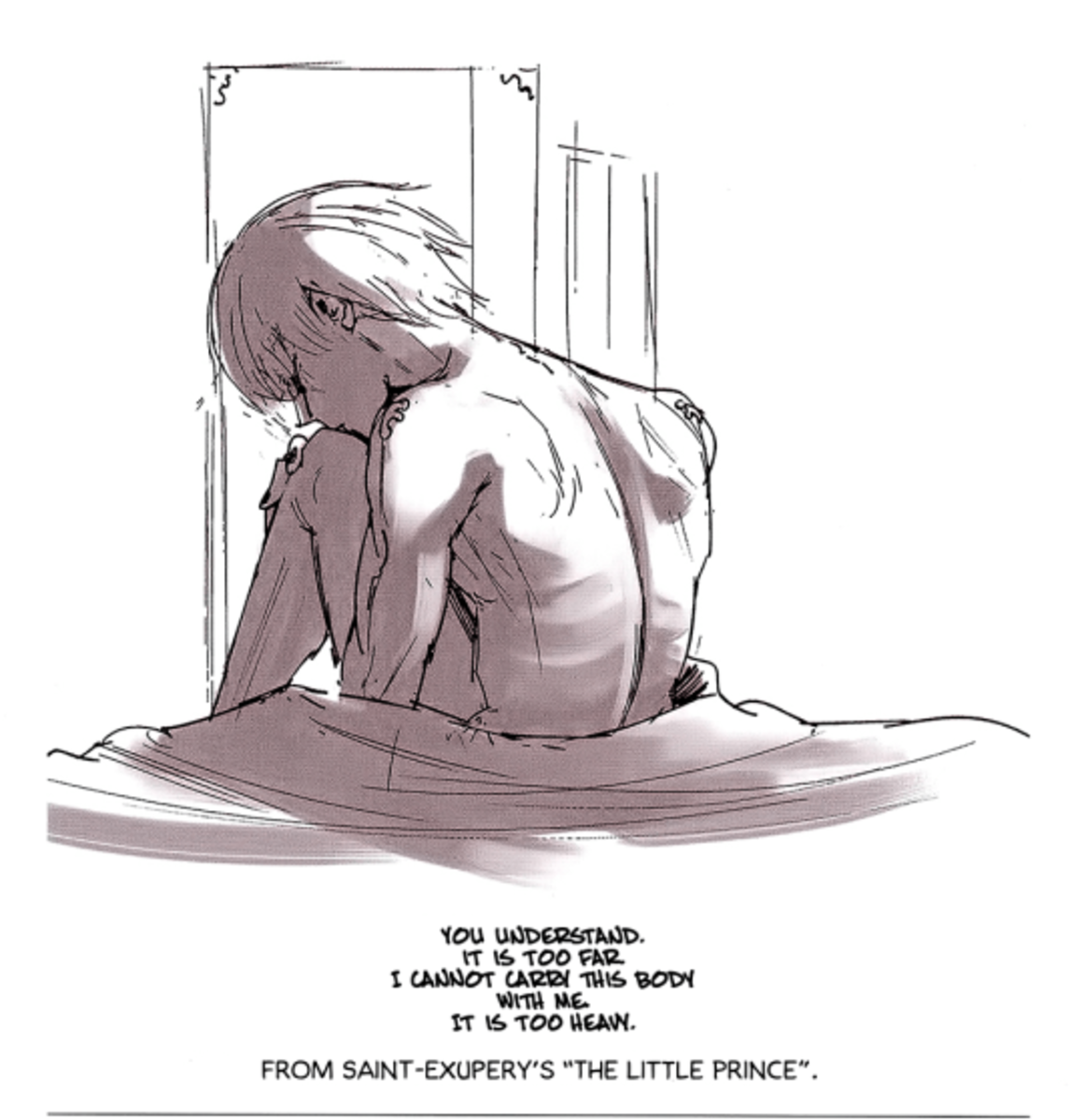 "Ishida's drawing of Kaneki with a quote from ""The Little Prince""."