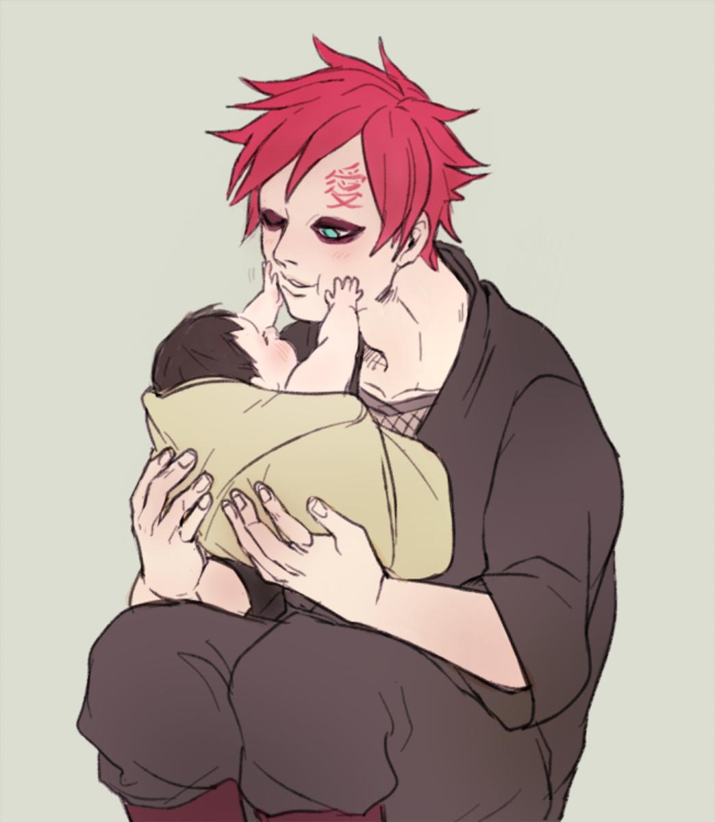 Kazekage Gaara and baby Shikadai.