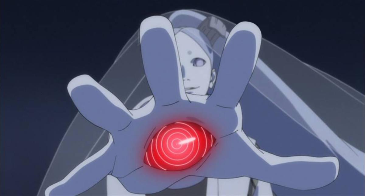 The red Rinnegan on Momoshiki's hand.