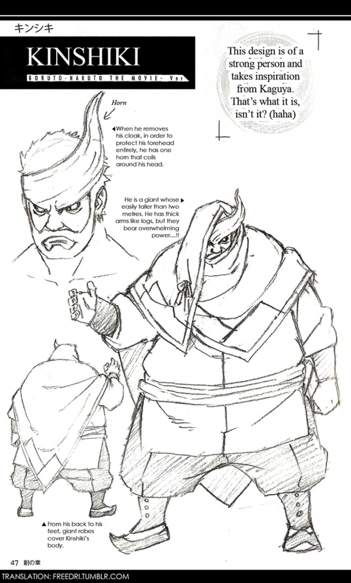Kinshiki's early sketch where he has smaller hands.