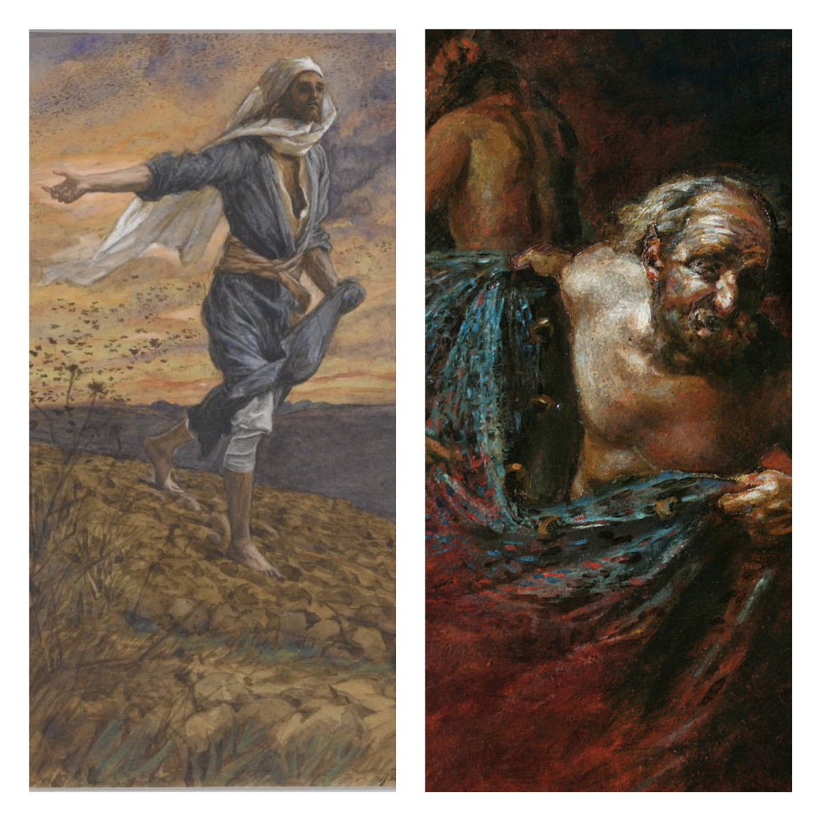 Left image by James Tissot. Right image By Andrey Mironov - Own work, CC BY-SA 4.0, https://commons.wikimedia.org/w/index.php?curid=29917801