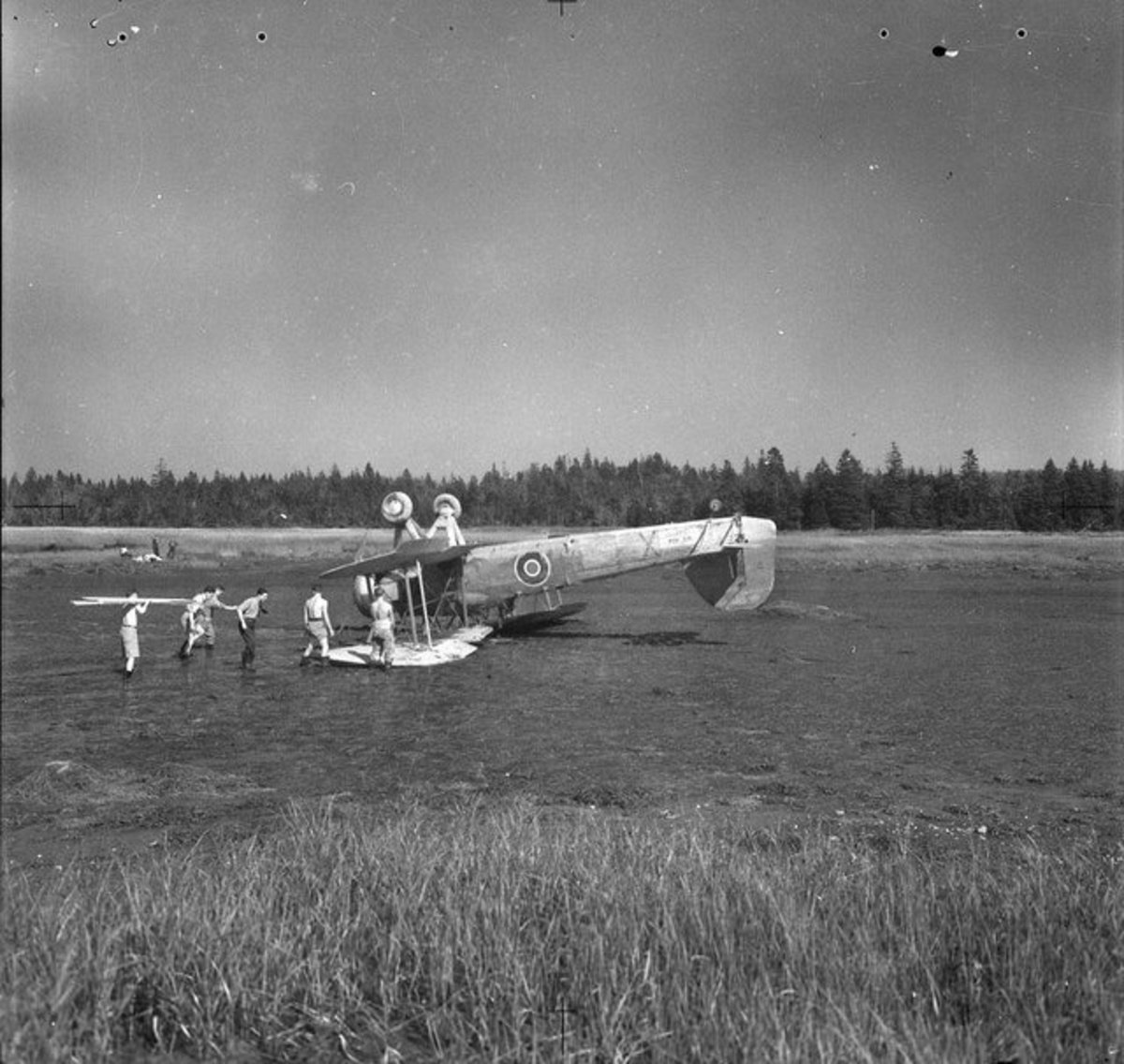 Wreckage of Fairey Swordfish aircraft HS404, the Naval Air Gunnery School, Yarmouth, Nova Scotia, 1943