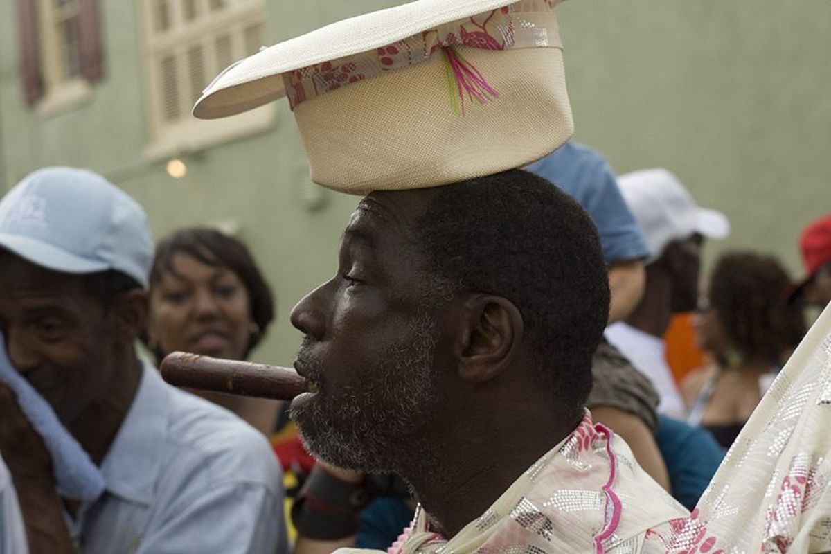Black Men of Labor Parade, New Orleans. Gregg Staford cutting up with his hat upside down while grand marshaling.
