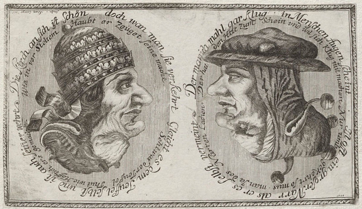 Image date - between 16th century and 18th century Turn the image upside down to see other faces.