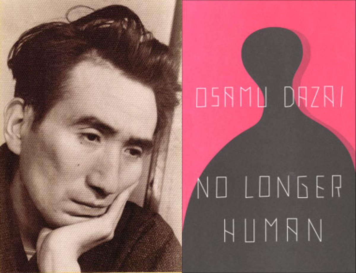 "Osamu Dazai and his most famous work ""No Longer Human""."