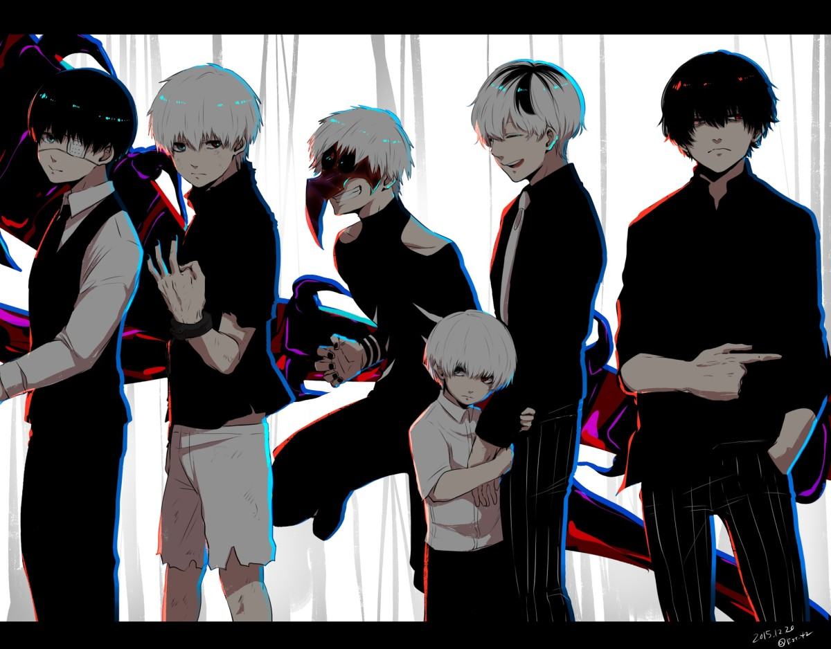 Different personalities of Kaneki Ken - Kuroneki, Shironeki, Centipede, Sasaki, and Akaneki.