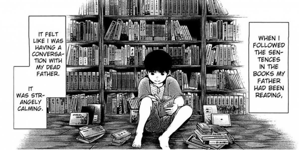 Kaneki reading his father's books.