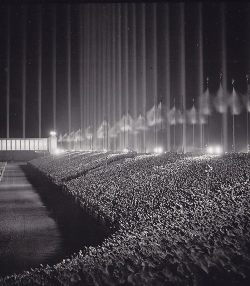 Nazi rally in the Cathedral of Light - 1937. This events was designed by Albert Speer