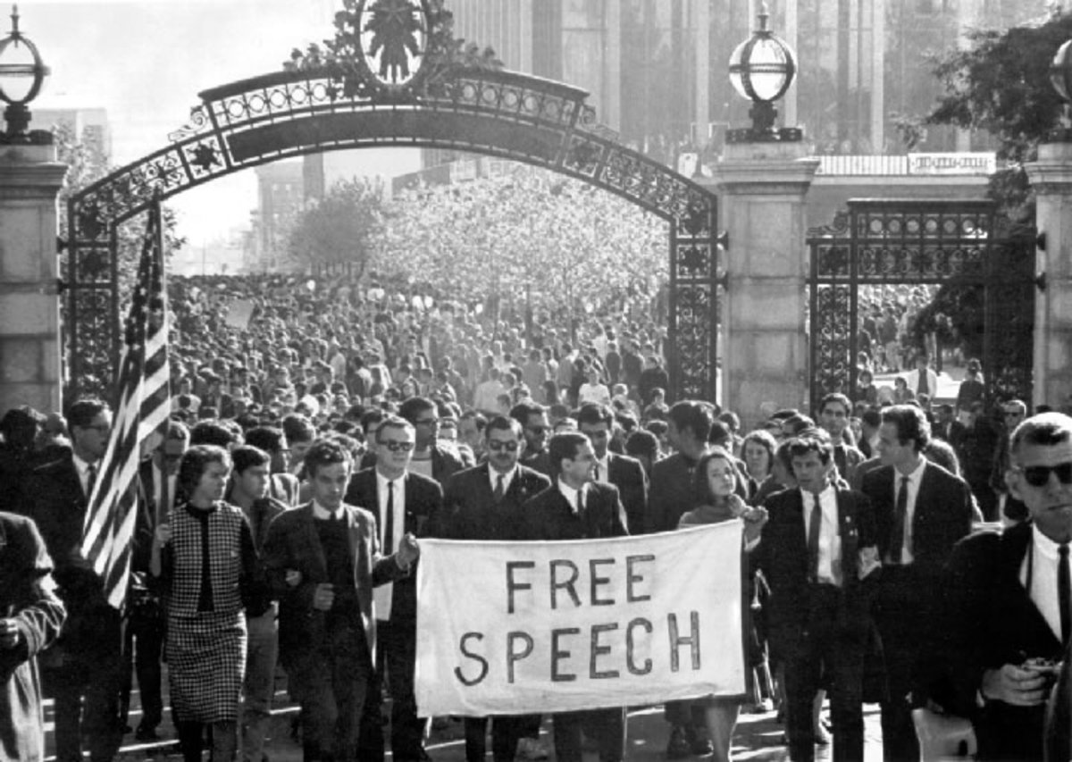 Berkley rose to prominence as a center for political protest during the 1960's as well as liberal thought.  But they also encouraged the right to speak out without force or intimidation.