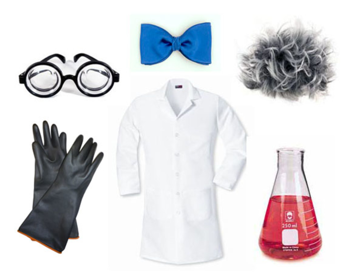 Goggles, rubber gloves, bow tie, wild wig, white lab coat, and a beaker of some experimental, glowing slime