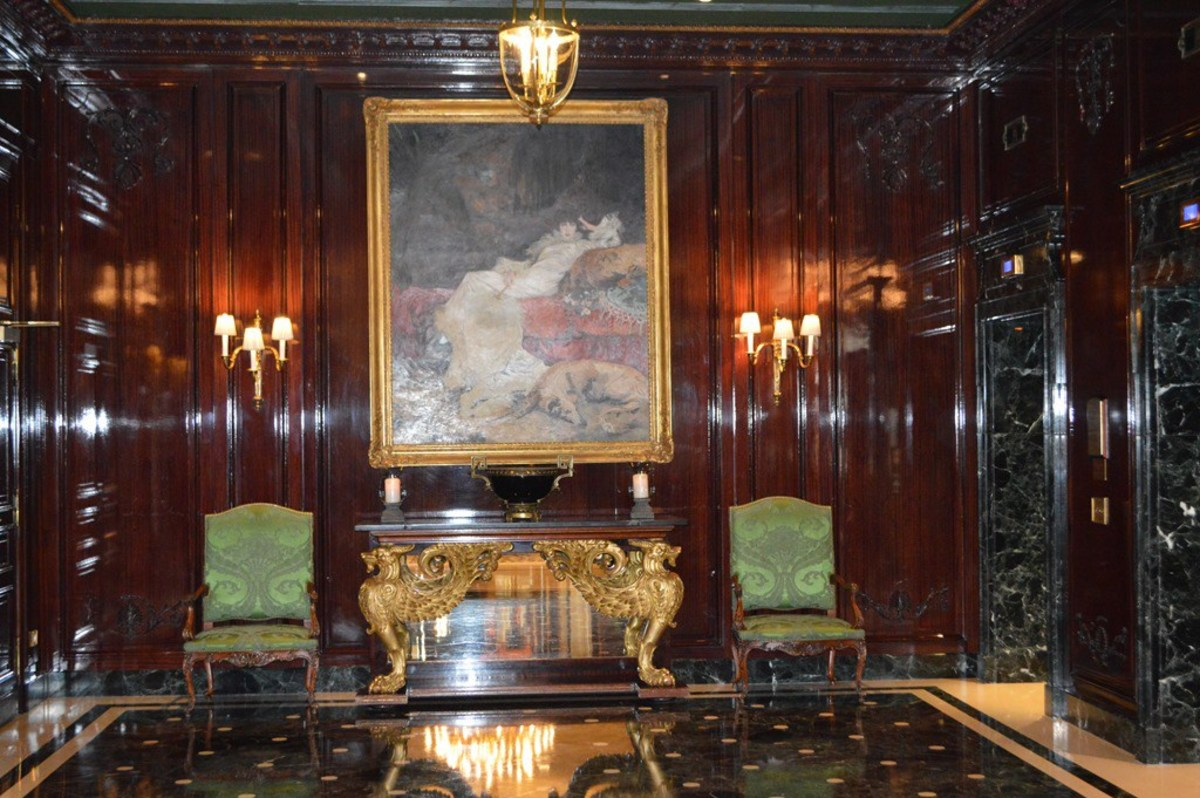 The real InterContinental Le Grand Hotel elevator foyer Paris France.