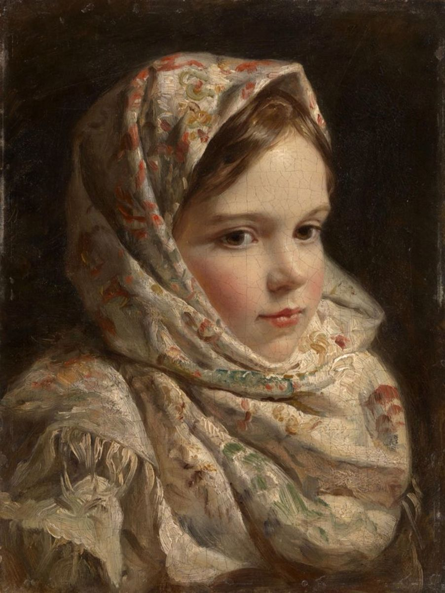 Please can you help my mother?  young girl wearing shawl 19th century