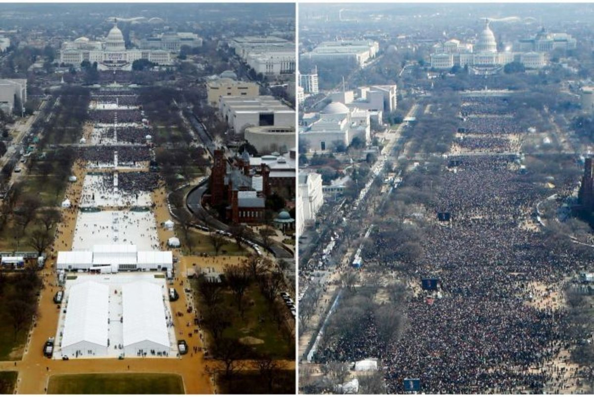 COMPARISON OF FIRST INAUGURAL CROWDS FOR TRUMP (Left) and OBAMA (Right)