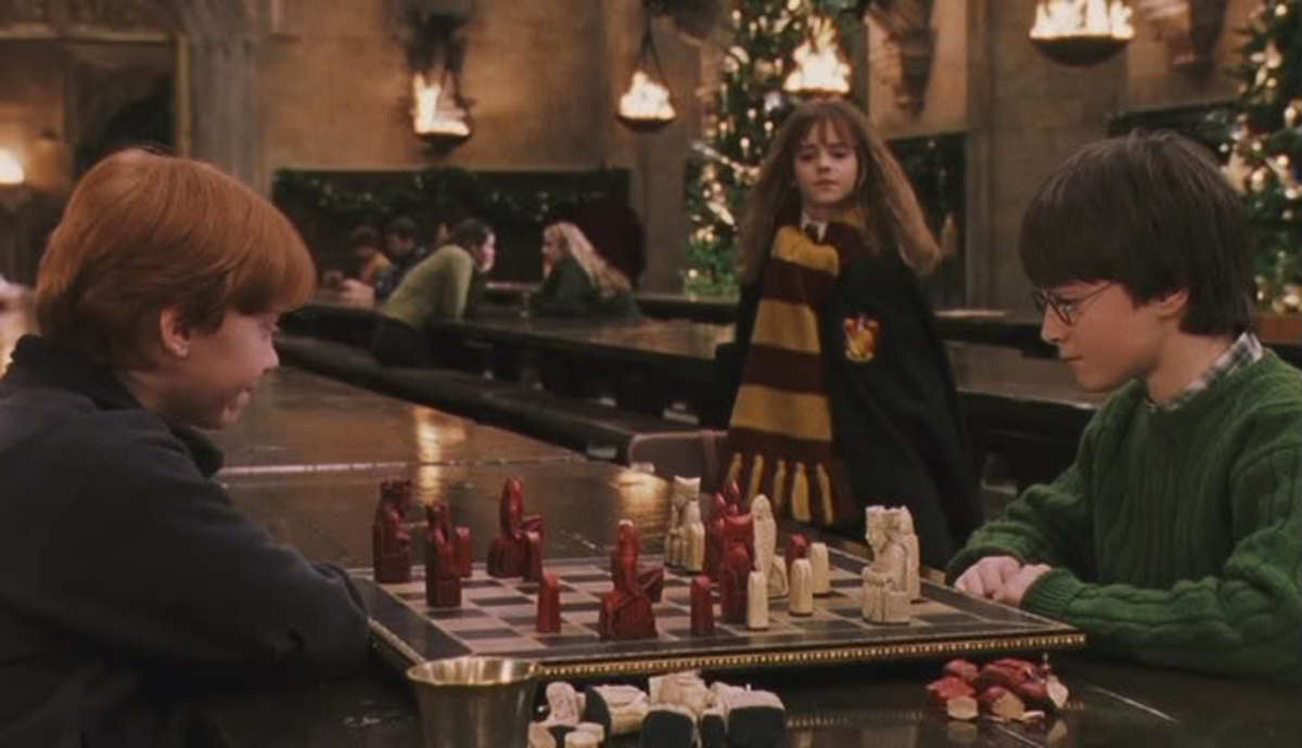 Harry getting his arse kicked in Wizard's Chess by Ron