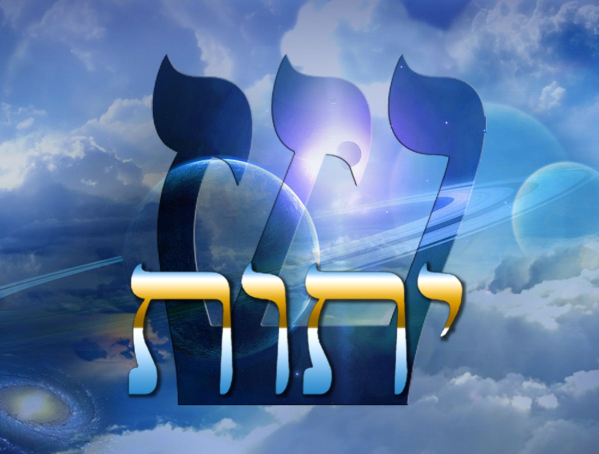 The four Hebrew letters are traditionally known as Yahweh but the large Hebrew letter in the background is known as the spirit or Shin, these five letters correspond with the five of the six  points of the Star of David, the sixth is freewill.