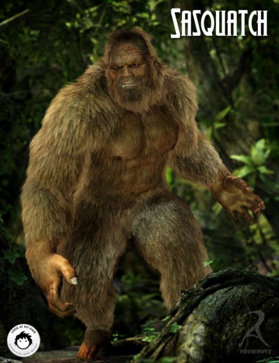 A typical artists rendition of a Sasquatch, shows a large bi-pedal humanoid being.