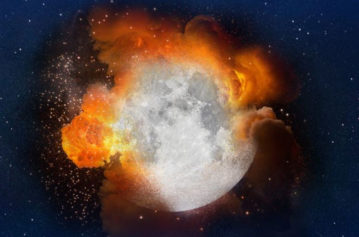 The explosion of our Moon in Earth's distanst past caused our first Ice Age but 4th Extinction Level Event.