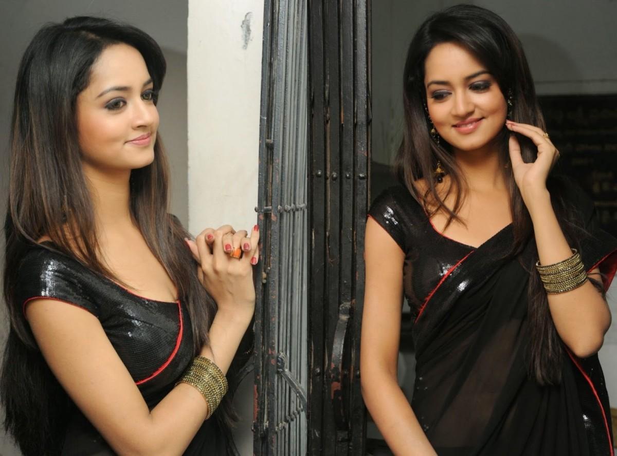 Black sequin blouse with black saree