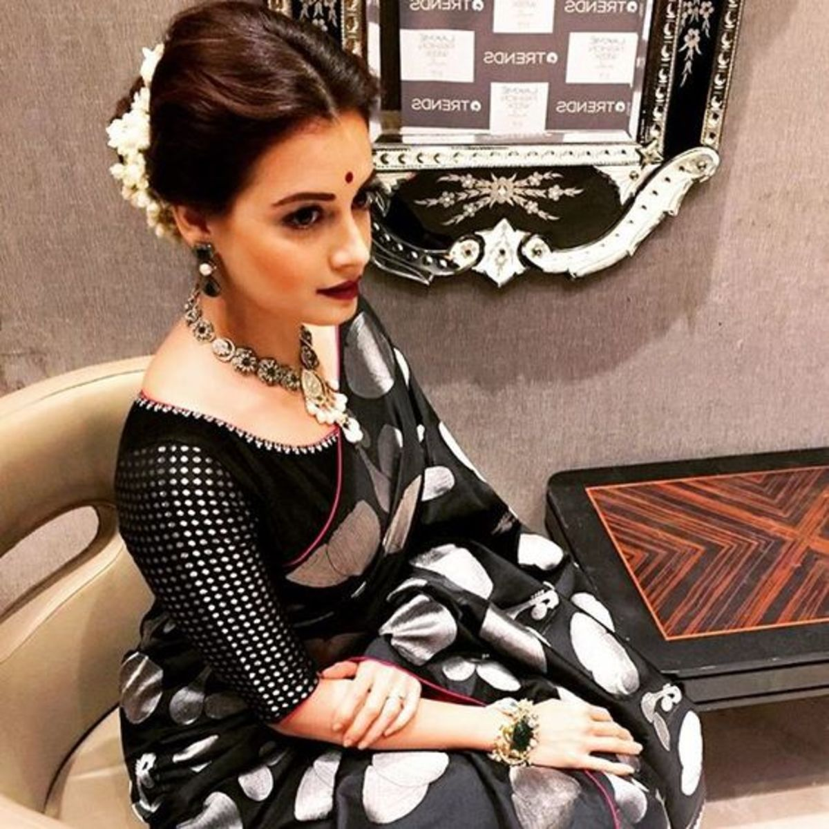 Diya Mirza in black and silver katan saree with brocade blouse