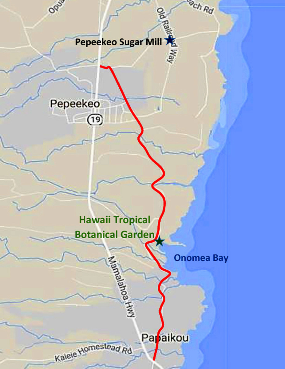 Onomea 4-mile scenic route (in red)