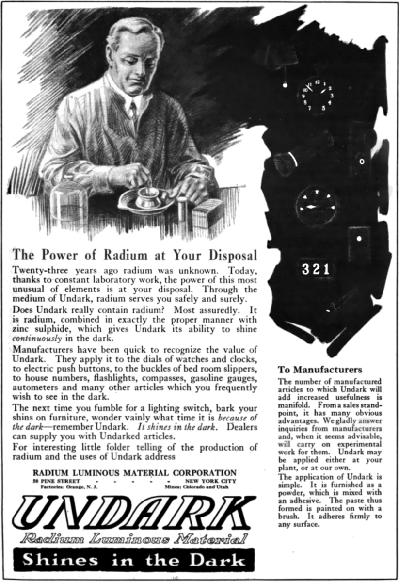 A typical 1920s advertisement praising Radium as a safe element.