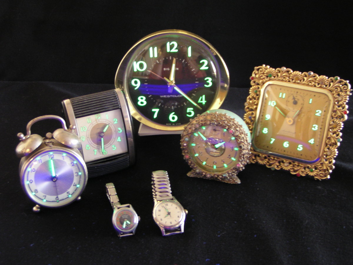 Antique radium clocks that still glow even today.