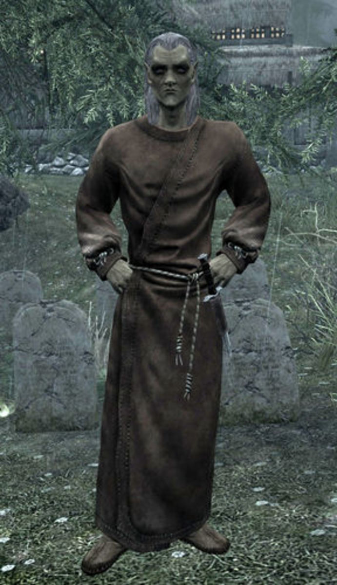 Runil, an Altmer priest who tends the graveyard in Falkreath.