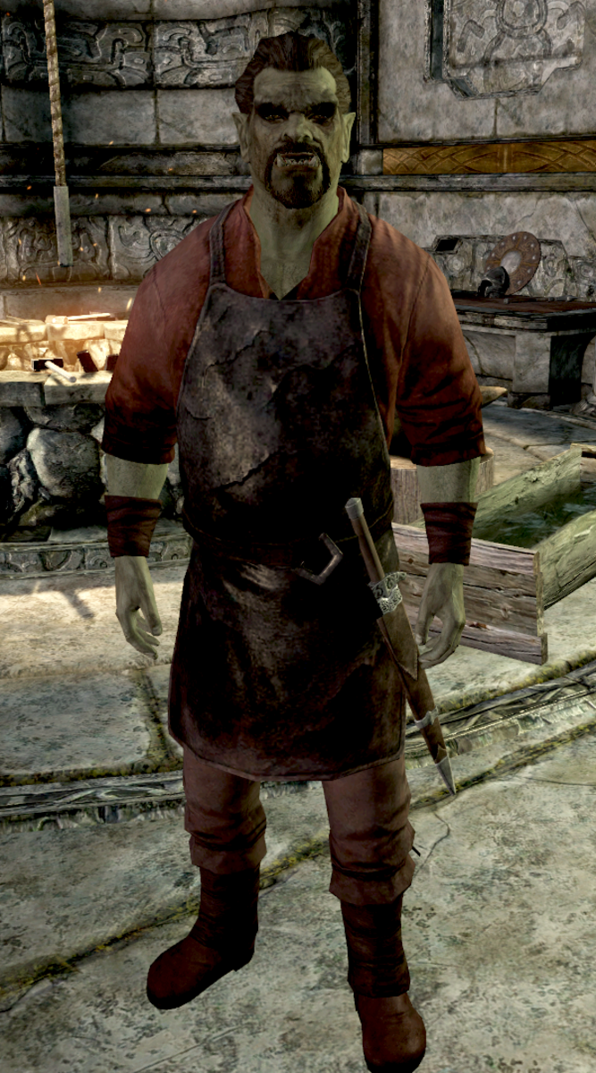 Moth gro-Bagol, an Orc who left his stronghold and now works as the Jarl's blacksmith in Markarth.