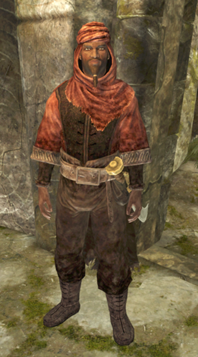 Nazir, a traditionally-dressed Redguard who is a member of the Dark Brotherhood.