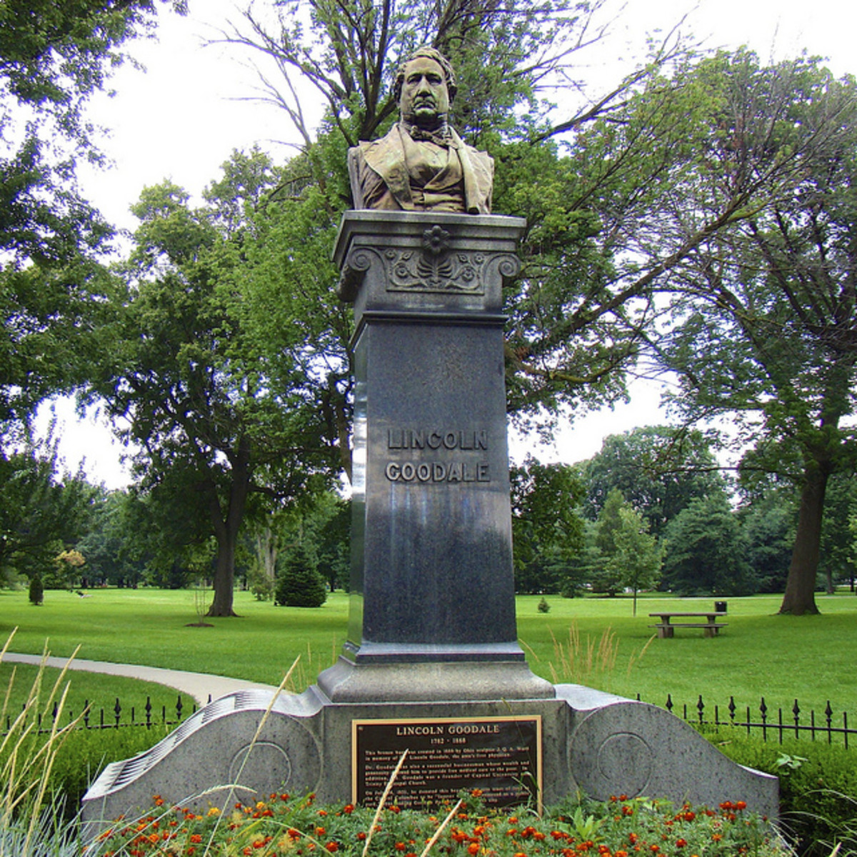 Bust of the park founder, placed in 1888.