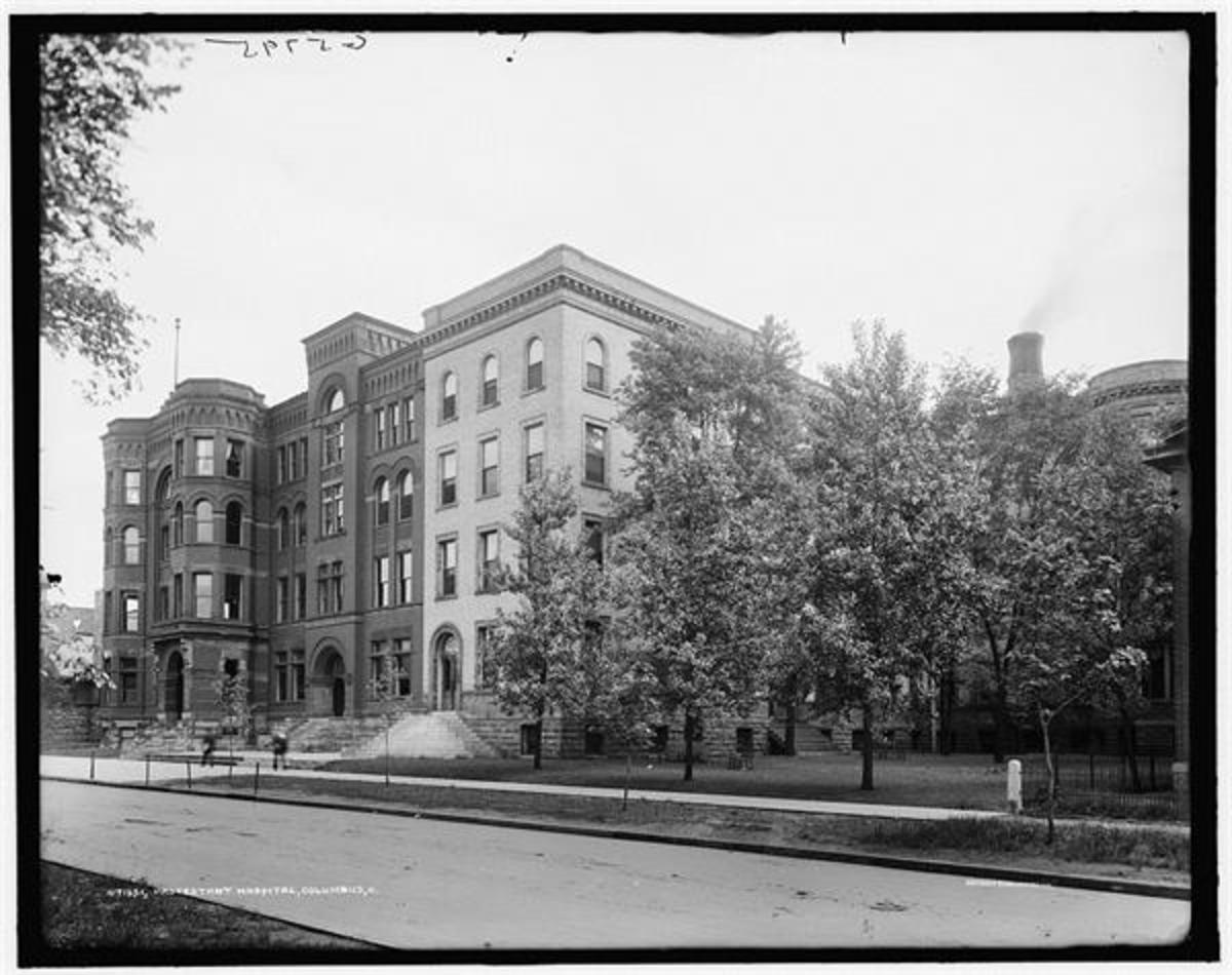 "White Cross Hospital, also called ""Protestant Hospital"" after its small former building nearby. This building stood at the lake in the park on the corner of Park Street and Buttles Avenue."