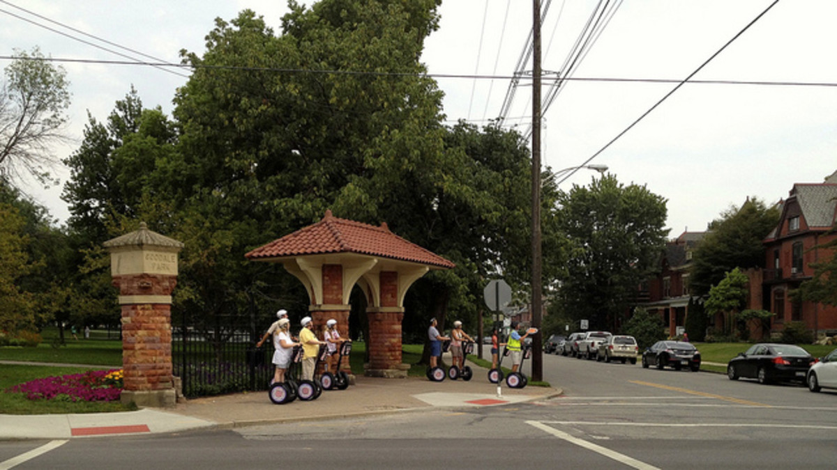 Dennison Avenue gate. This group is a Segway tour of the Short North. The original Protestant Hospital/White Cross was on Dennison Avenue.