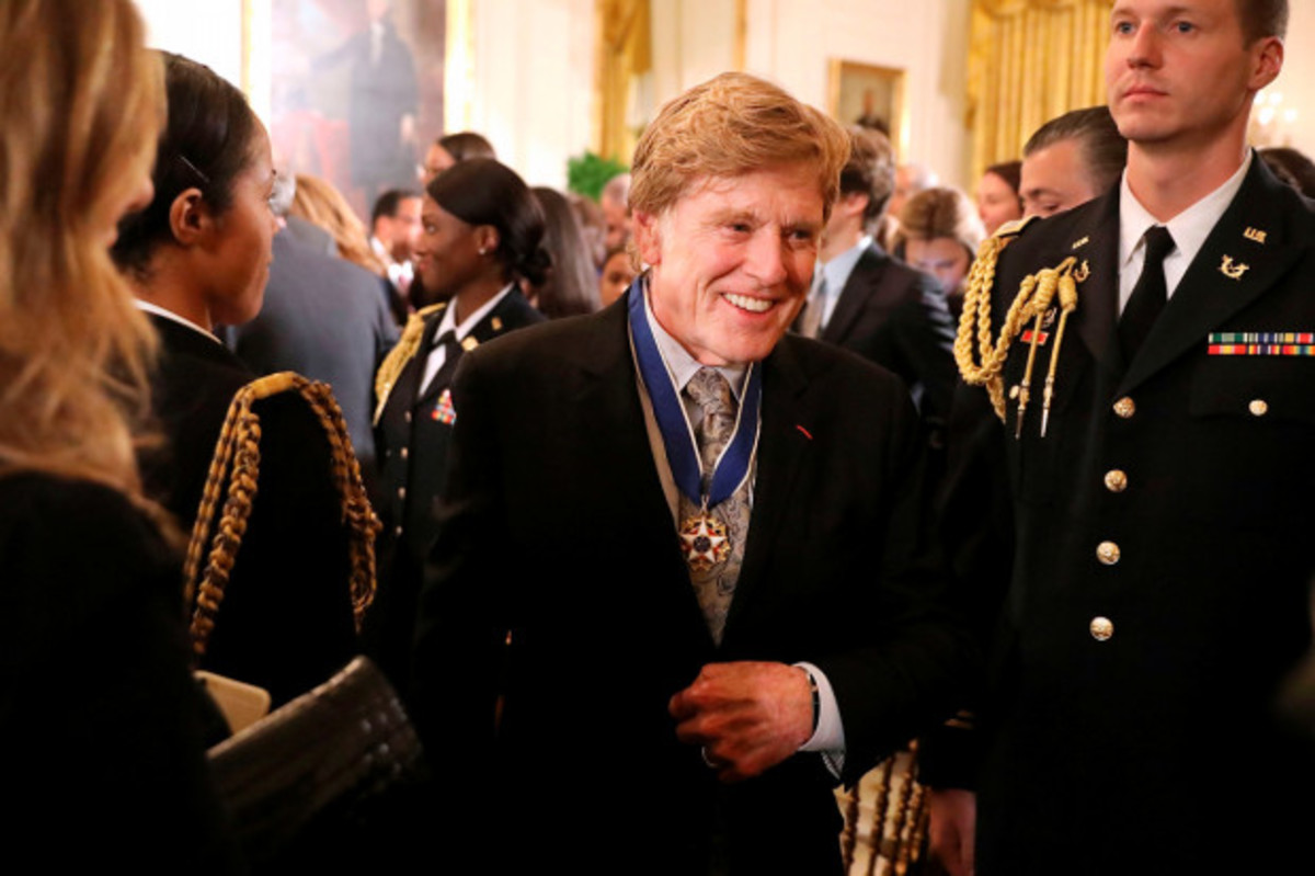Robert Redford, shortly after receiving the Presidential Medal of Freedom from former President Barack Obama in 2016.  Redford has urged President Donald Trump not to defund the National Endowment for the Arts.