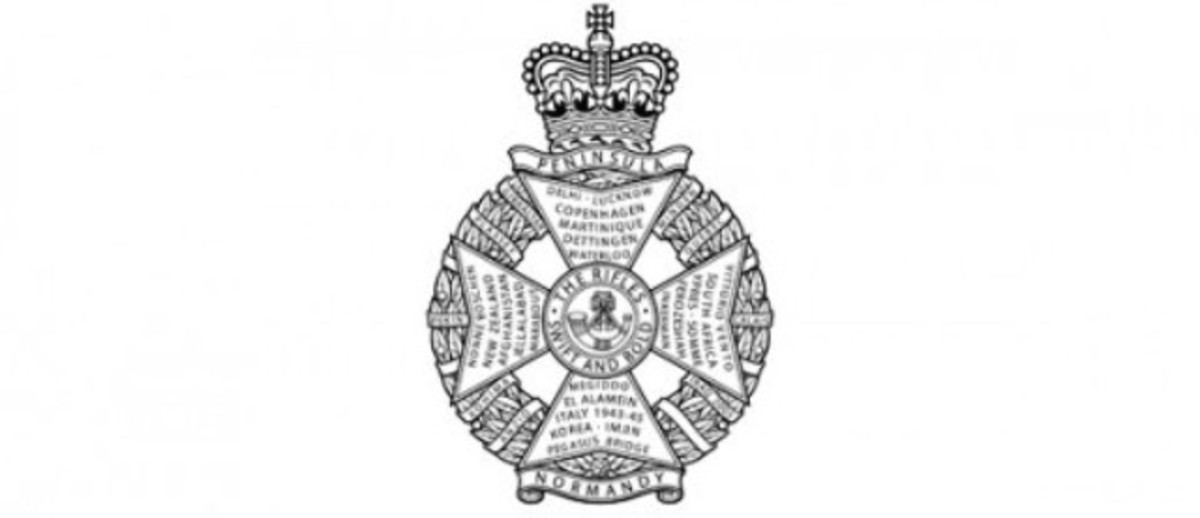 The Rifles Regiment belt buckle badge with that space open for a new battle or campaign honour (lower right beside the stem of the cross