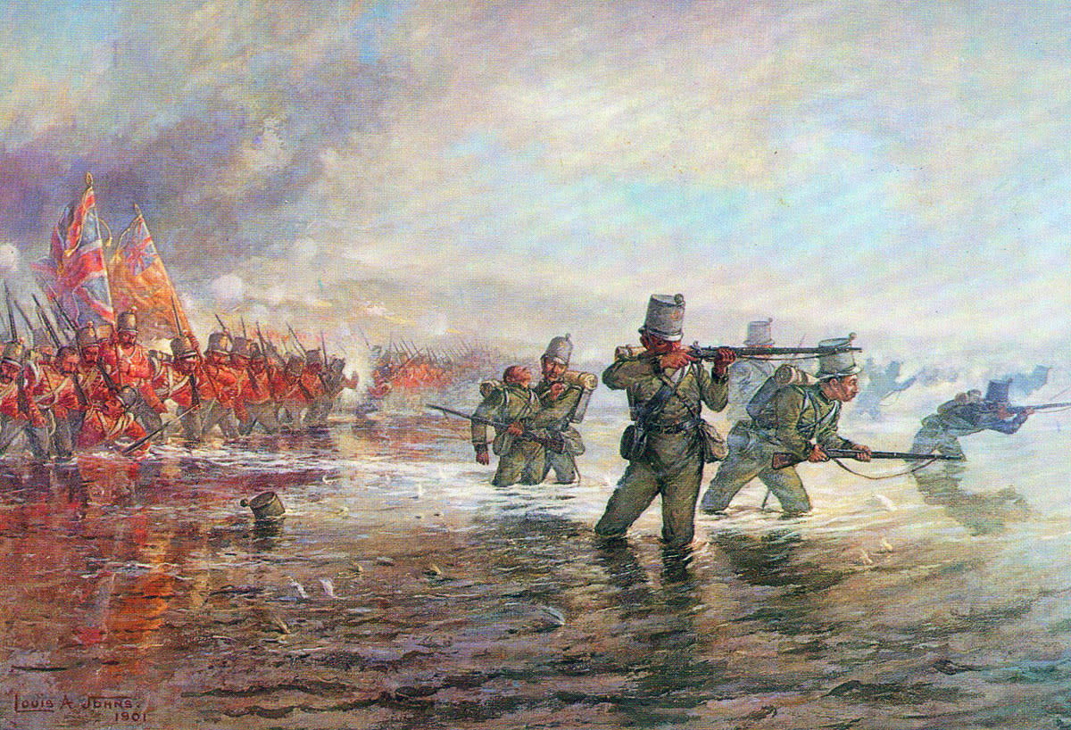 Battle of the Alma, Crimea 1854. 2nd Rifle Brigade leads the Light Division (Infantry) across the River Alma
