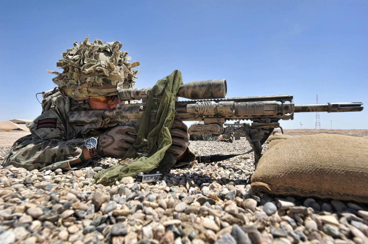 British sniper or 'Markman' (a peculiarity of The Rifles is they are not given the usual title 'marksman')