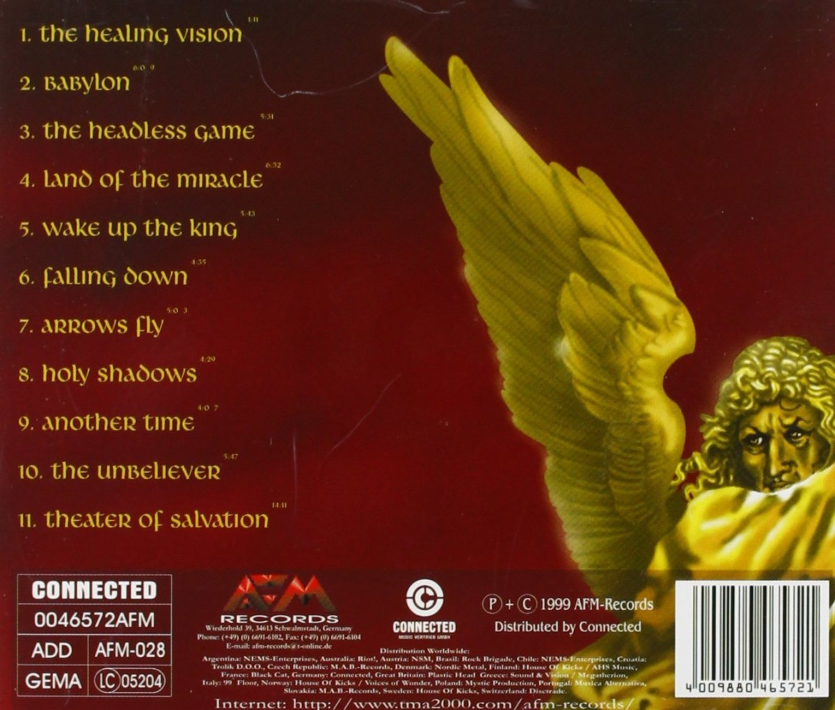 The back of the cover for Theater of Salvation has an angel on it who is depicted as coming to save the world from the forces of evil.