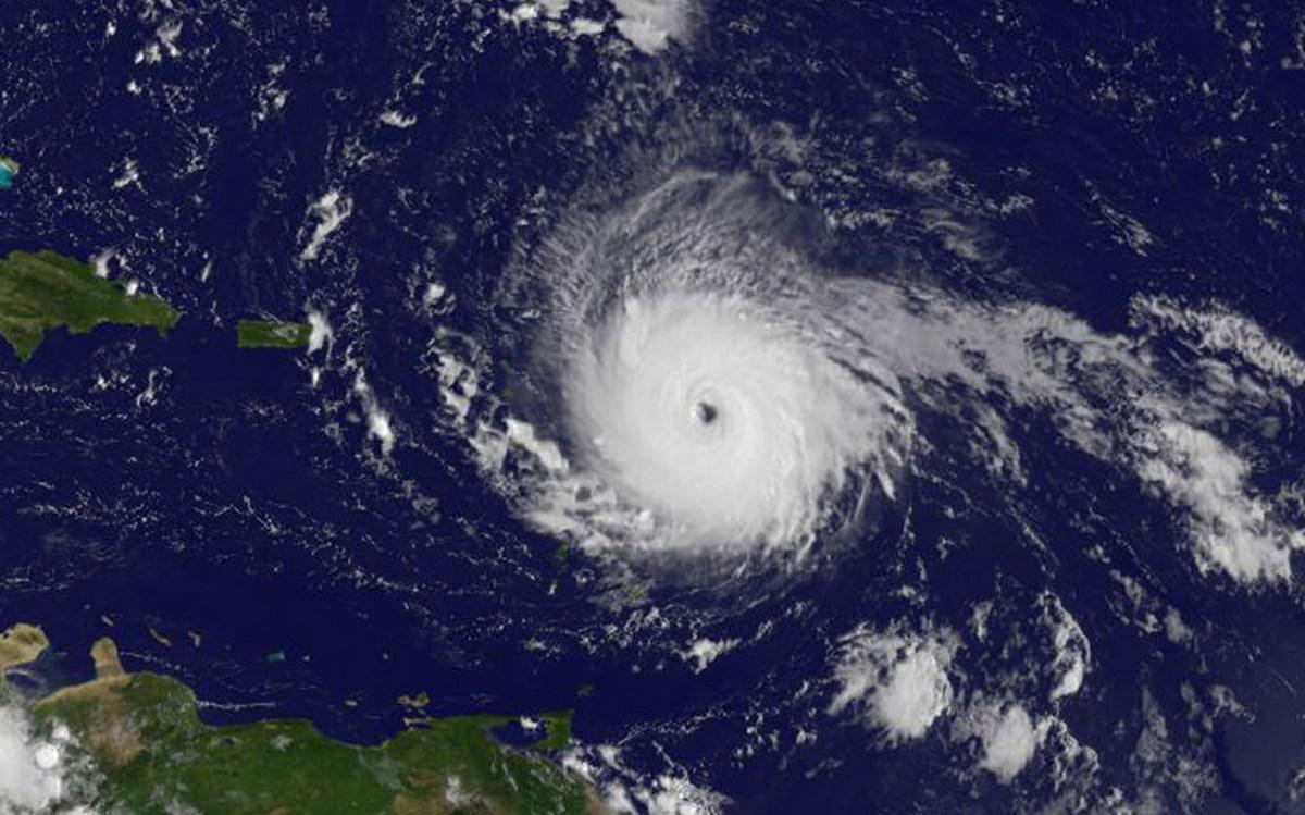 A satellite image of Hurricane Irma