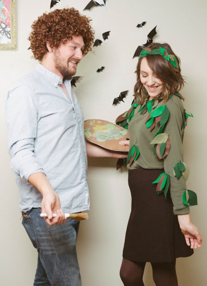 Make your own Bob Ross and Happy Little Tree couples costume