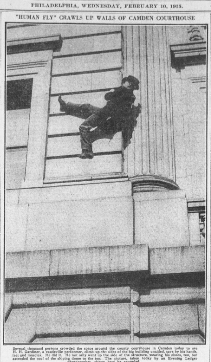 Human Fly crawls up walls of Camden NJ Courthouse 1915