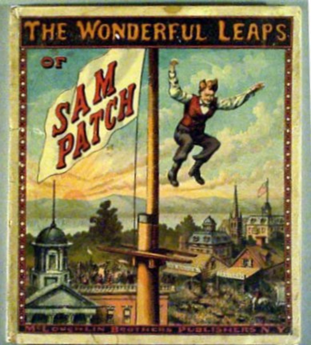 1870 Book Cover Illustration of The Wonderful Leaps of Sam Patch