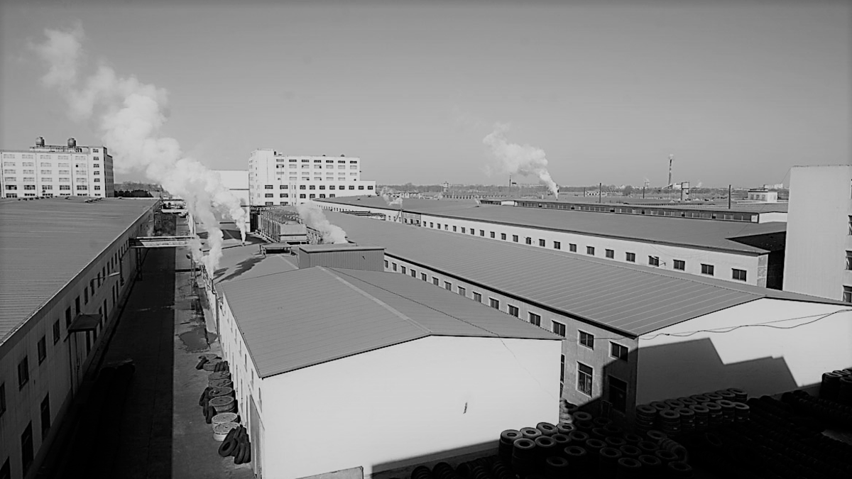This illustration shows an  Alcoa aluminum wheel plant where multiple sizes of aluminum rims are manufactured.