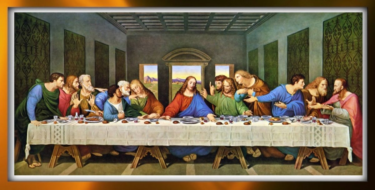 "Famous painting of Leonardo da Vinci's ""Last Supper."""