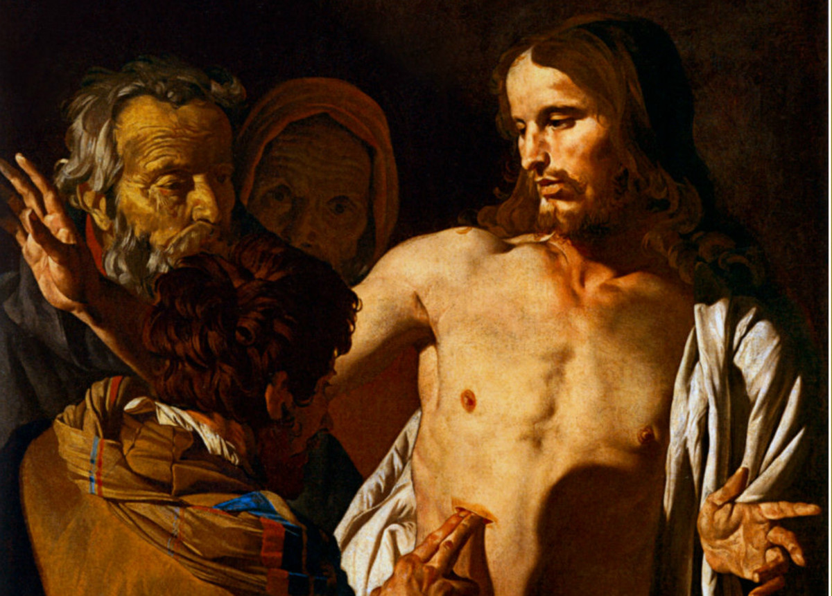 Doubting Thomas sticking hand in Jesus' piercing