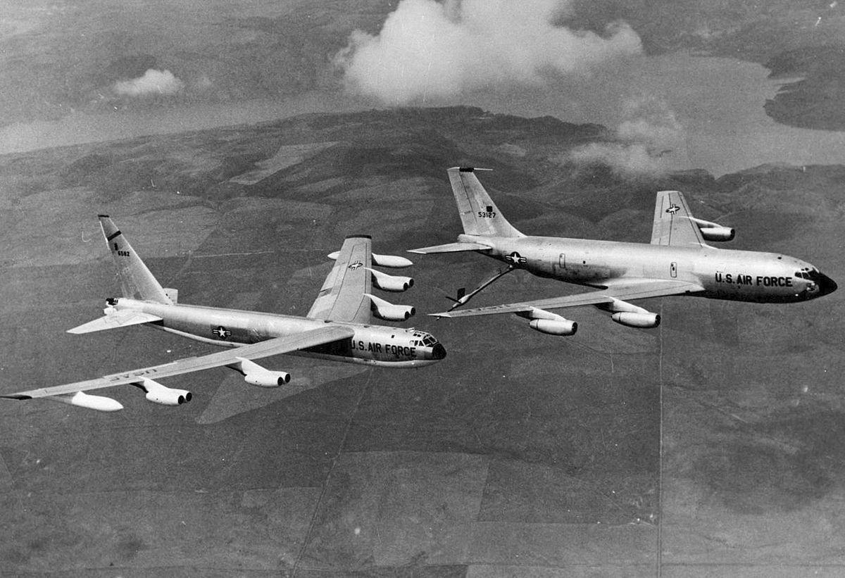 KC-135A refueling a B-52 Bomber