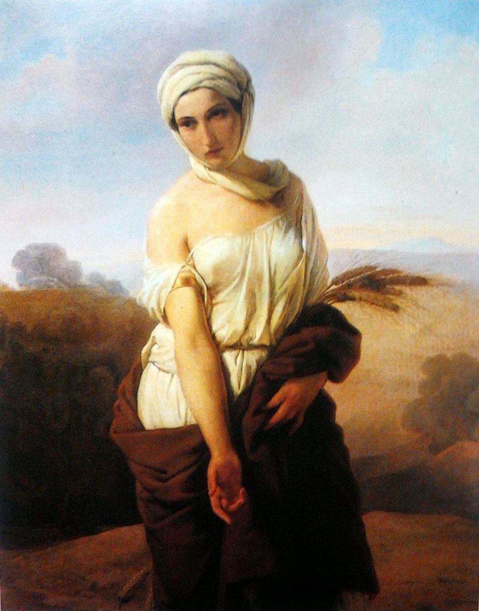 Ruth gleaning in Boaz's field